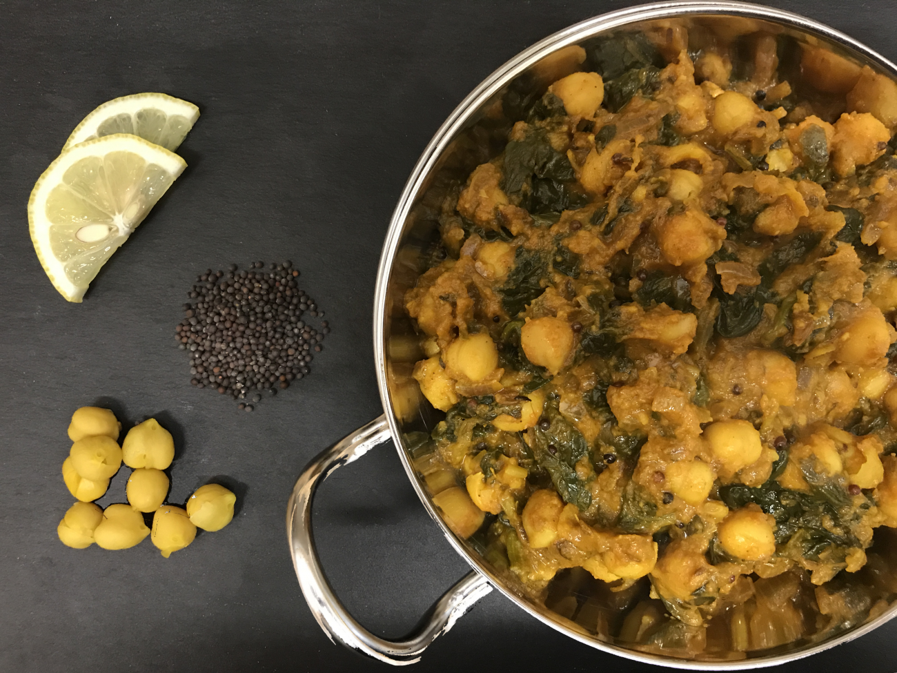 Chana Saag Masala (aka channay, chole masala, chole or chholay)